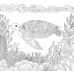 Zendoodle design of turtle swimming in ocean and beautiful corals for adult coloring book for anti stress - Stock Vector