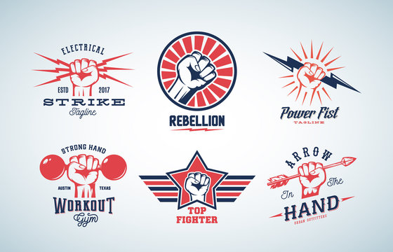 Abstract Vector Fists Logo Set. Different Concepts with Hand Emblem or Sign. Retro Style and Typography.