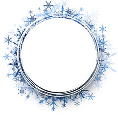 Winter round background with snowflakes.