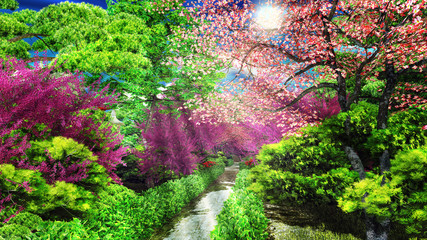 forest with morning sunlight 3d rendering