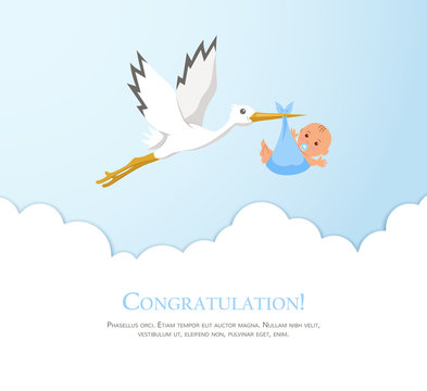 Cartoon stork in sky with baby. Design template for greeting card, baby shower invitation, banner. Congratulations to the newborn.
