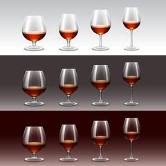 Set of Wine Glasses Isolated on Background