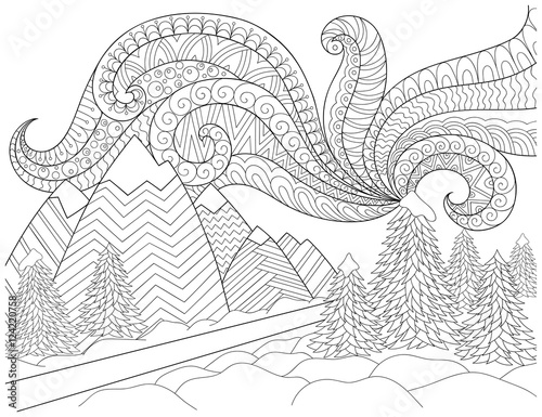 Doodle Pattern In Black And White Winter Landscape