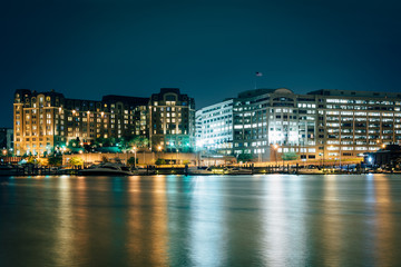 Buildings along the Washington Waterfront at night, in Washingto