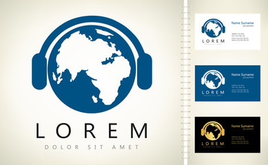 earth with headphones vector design with business card template editable.