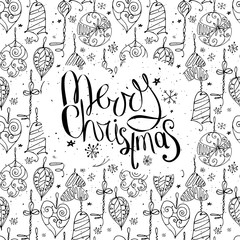 Greeting card with phrase Merry Christmas and decoration. Contour, black and white