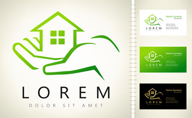 house vector with business card template.