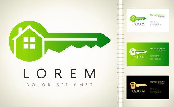 house - key logo vector