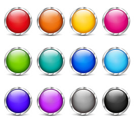 web buttons colorful design set
