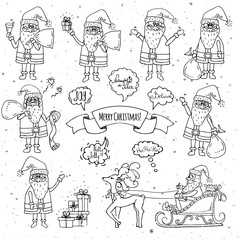 Hand drawn doodle set of Santa Claus icon. Vector illustration. Cartoon red hat Happy new year Santa Claus symbol Sketchy funny Merry Christmas element Traditional december holiday present decoration.