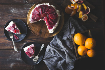 Blood orange & corn flour ricotta cake with whipped mascarpone.