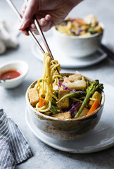 Curried noodles with crispy tofu & winter vegetables, gluten-fre
