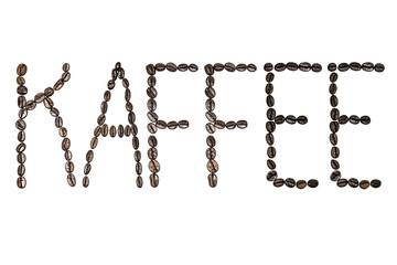Kaffee als Wort - geschrieben mit Buchstaben aus Kaffeebohnen