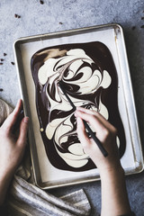 Melted white and dark chocolate