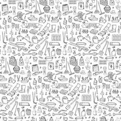 Seamless pattern Hand drawn doodle set of Gardening icons. Vector illustration set. Cartoon Garden symbols. Sketchy elements collection: lawnmower, trimmer, spade, fork, rake, hoe, trug, wheelbarrow
