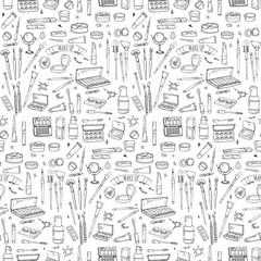 Seasonal pattern Hand drawn doodle Make up icons set. Vector illustration. Beauty symbols collection. Cartoon element: powder, mascara, pencil, eye liner, foundation, cream, lipstick, blush, cosmetics