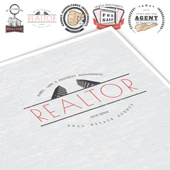 Real estate agency. Buy, Sell and Consultancy. Detailed elements. Old retro vintage grunge. Mockup style. Typographic labels, stickers, logos and badges.