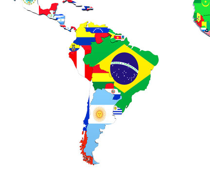 South America map 3d illustration on white