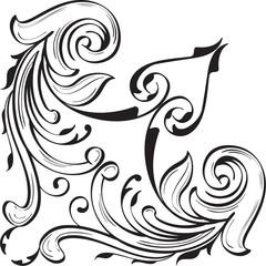 Fine corner art luxury swirl element