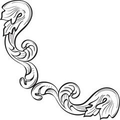 Swirl ornate corner art element