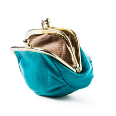 Blue coin purse empty