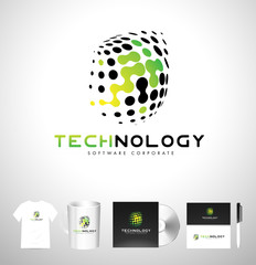 Technology Logo Dots. Tech Logo Icon Vector