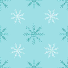 Seamless pattern with line snowflakes