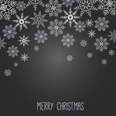 Christmas template with snowflakes on black background
