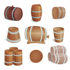 Wooden barrels vector set.