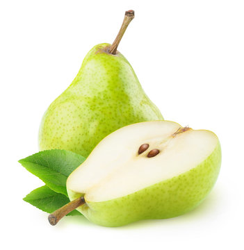 One ana a half isolated green pears