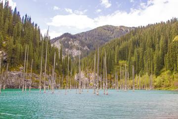 Kaindy mountain lake in Kazakhstan