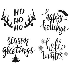 Hand lettered Christmas greeting phrases