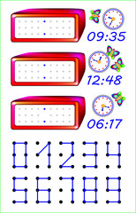 Educational page for young children. Need to join the points with straight lines and write the correct time on the watches. Developing skills for counting and writing. Vector cartoon image.