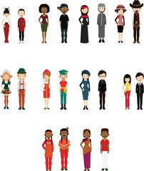 People in national dress. Female and male: african, american, russian, german, french, arabian.