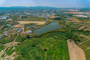 Industrial estate development and Farming Aerial photography