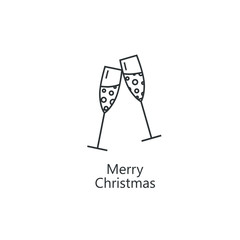 Line style logotype template with champagne glasses. Easy to use business template. Christmas emblem.