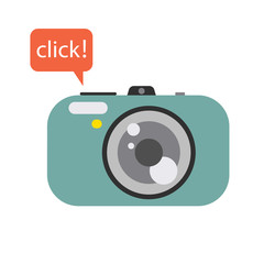 Photo digital camera with click speech bubble. Camera vector flat style illustration.
