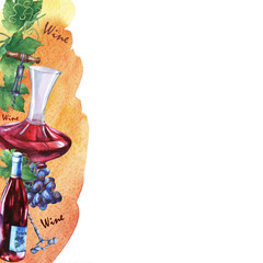 Template with bunch of fresh grapes, corkscrews, decanter and bottle of red wine. Hand drawn watercolor painting on yellow and orange watercolor background.
