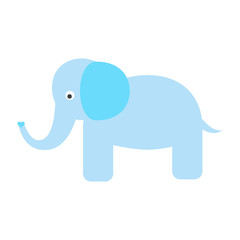 Cute blue elephant vector illustration. Cartoon elephant wild safari animal for kid t-shirt prints and apparel.