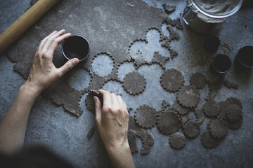 Cutting buckwheat dough in preparation for Pandowdy