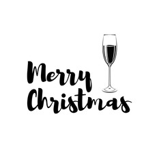 Champagne Glass Merry Christmas. Greeteng Card. Isolated On White Vector