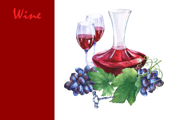 Arrangement with bunch of fresh grapes, corkscrews, decanter and glasses of red wine. Hand drawn watercolor painting on white background.