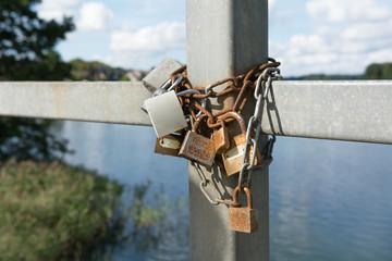 Love locks with blue sky
