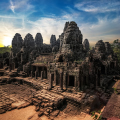 Ancient Khmer architecture. Amazing view of Bayon temple at sunset. Angkor Wat complex, Siem Reap, Cambodia travel destinations