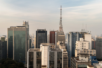 Skyline of Buildings Around Paulista Avenue in Sao Paulo City