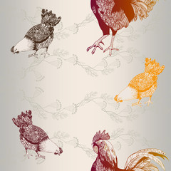 Rooster and chickens. Seamless vector background.
