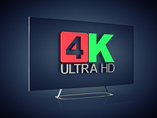 4K Ultra HD screen tv on dark background , Ultra High Definition display