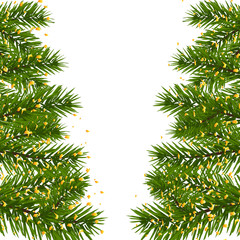Green lush branch of spruce, with two sides decorated with gold confetti. Fir branches. Isolated on white  illustration