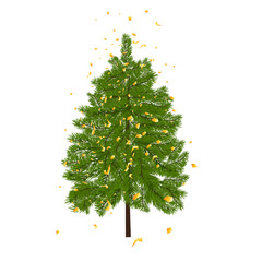 Green lush fir, decorated with gold confetti. Fir branches. Isolated on white  illustration