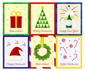 Set of six Christmas cards in flat design